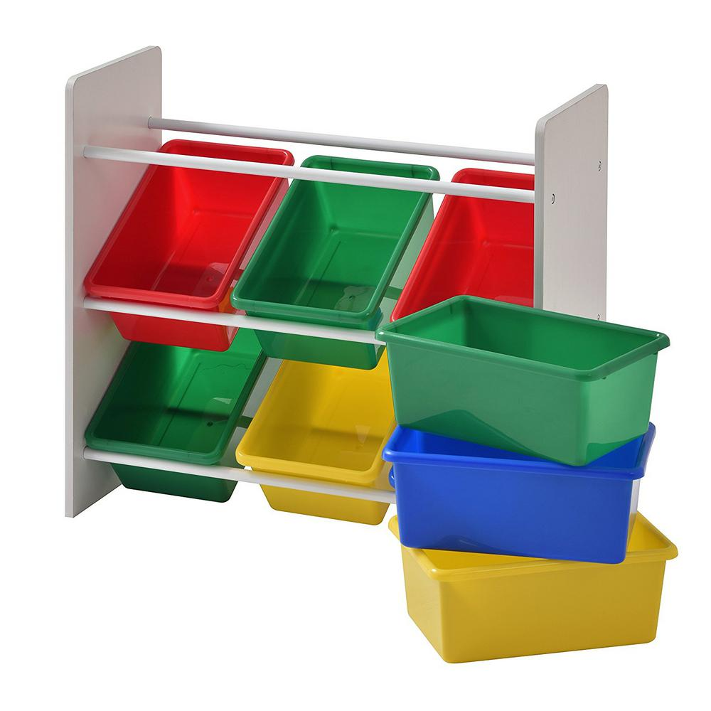Multi Color Bins With 3 Tier Organizer For Toys