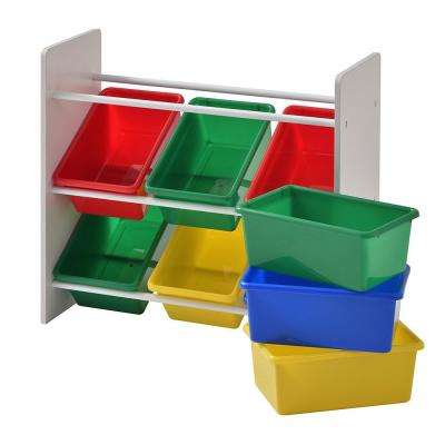 Multi Color Bins With 3 Tier Organizer For Toys In White