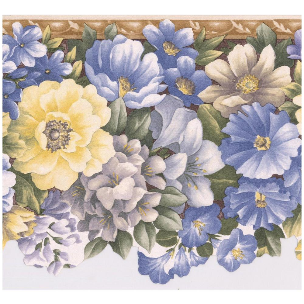 Retro Art Blue Yellow Grey Morning Glory Flowers Scalloped Floral