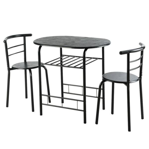Boyel Living 3 Piece Black Dining Set Bistro Table Set With Chairs Hysn 54057bk The Home Depot