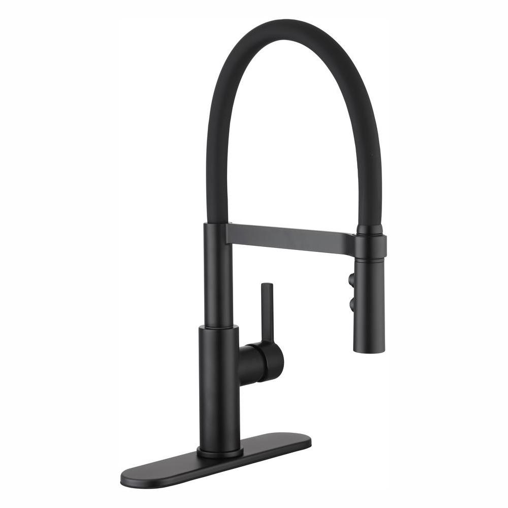 Glacier Bay Statham Single-Handle Rubber Hose Springneck Pull-Down Kitchen Faucet with TurboSpray and FastMount in Matte Black
