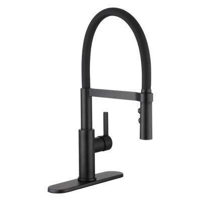 Statham Single-Handle Rubber Hose Spring Neck Kitchen Faucet with TurboSpray and FastMount in Matte Black