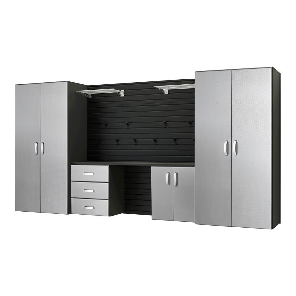 Flow Wall Modular Wall Mounted Garage Cabinet Storage Set With Workstation  And Accessories, Black/