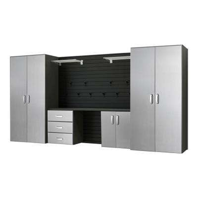 Modular Wall Mounted Garage Cabinet Storage Set with Workstation and Accessories, Black/Platinum Carbon Fiber (17-Piece)