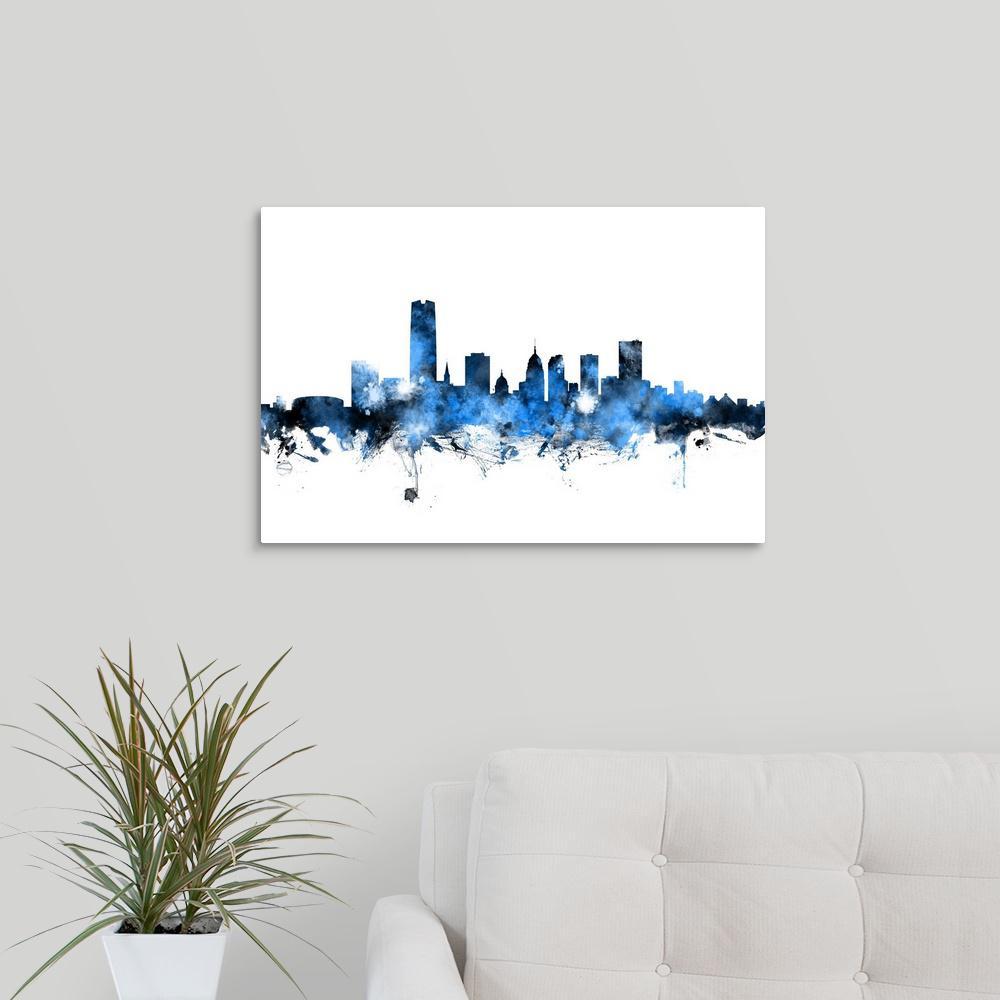 Greatbigcanvas Oklahoma City Skyline By Michael Tompsett Canvas Wall Art 2526095 24 24x16 The Home Depot