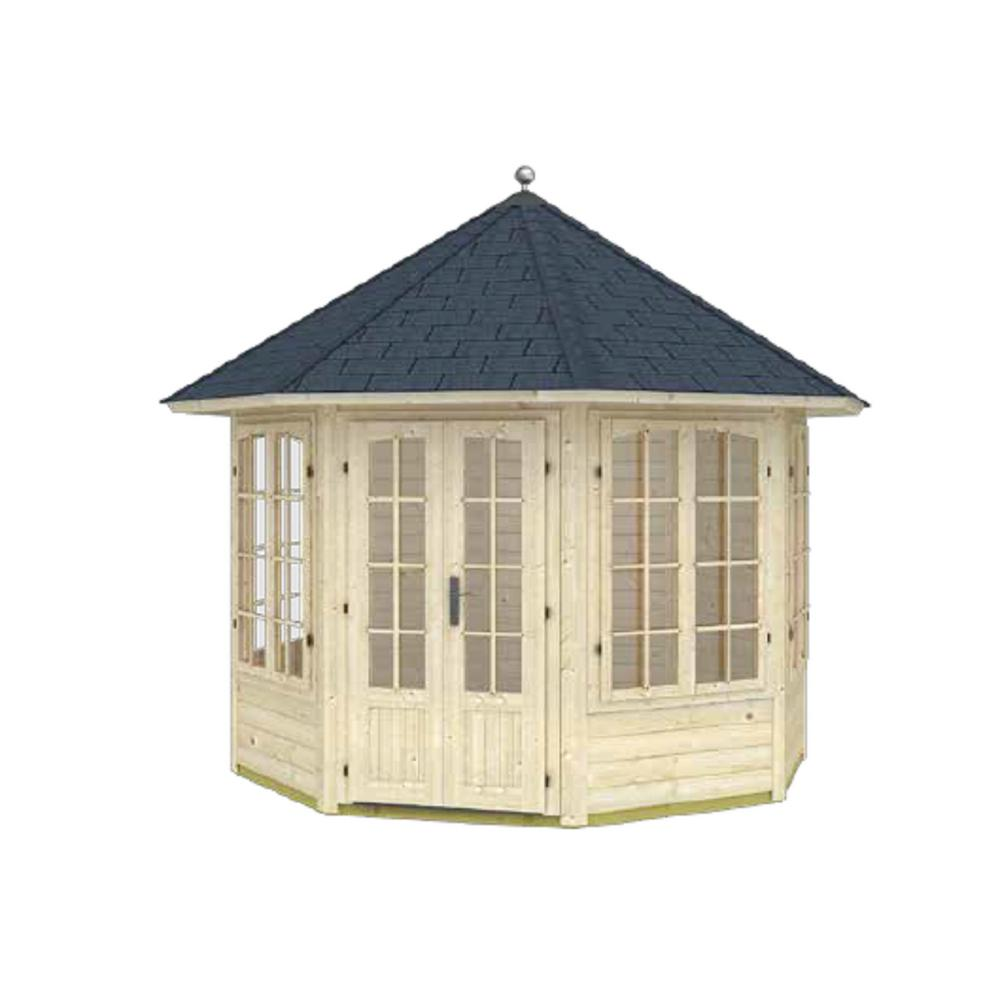 EZ Log Structures 9 ft  8 in  x 9 ft  8 in  Enclosed Log Octagon Gazebo  Private Outside Dining Area