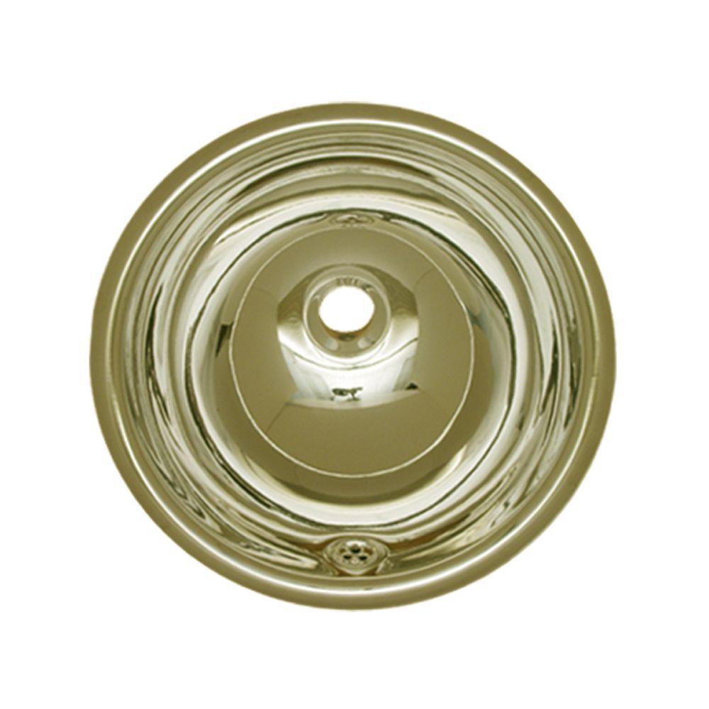 Drop-in Bathroom Sink in Polished Brass