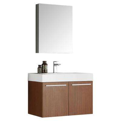 Vista 30 in. Vanity in Teak with Acrylic Vanity Top in White with White Basin and Mirrored Medicine Cabinet