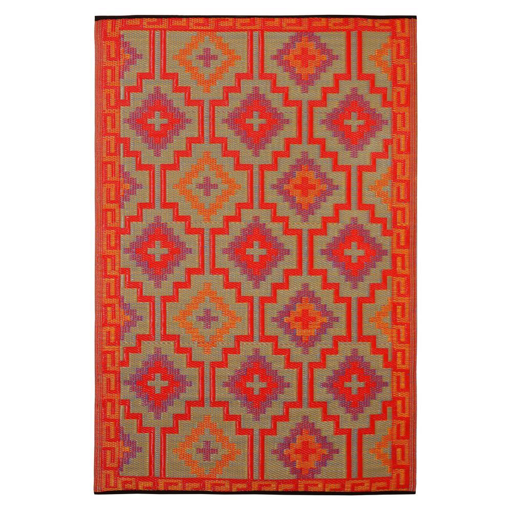 Lhasa - Indoor/ Outdoor Orange and Violet (6 ft. x 9 ft. ) - Area Rug