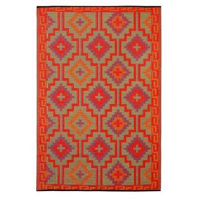 Lhasa Indoor/Outdoor Orange and Violet 8 ft. x 10 ft. Area Rug