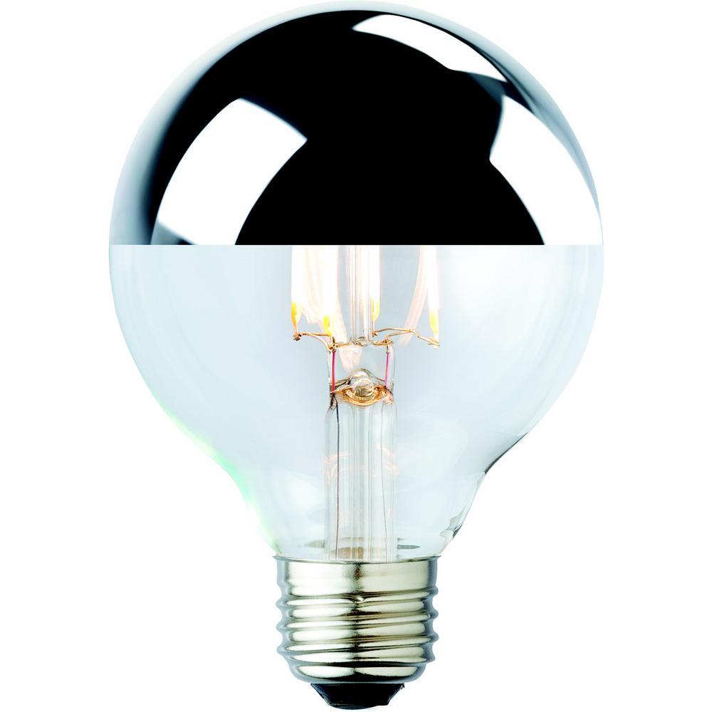 40W Equivalent Warm White G25 Silver Tipped Lens Nostalgic Globe Dimmable LED Light Bulb (2-Pack)