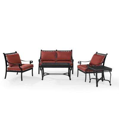 Portofino 5-Piece Cast Aluminum Conversation Set with Sangria Cushions