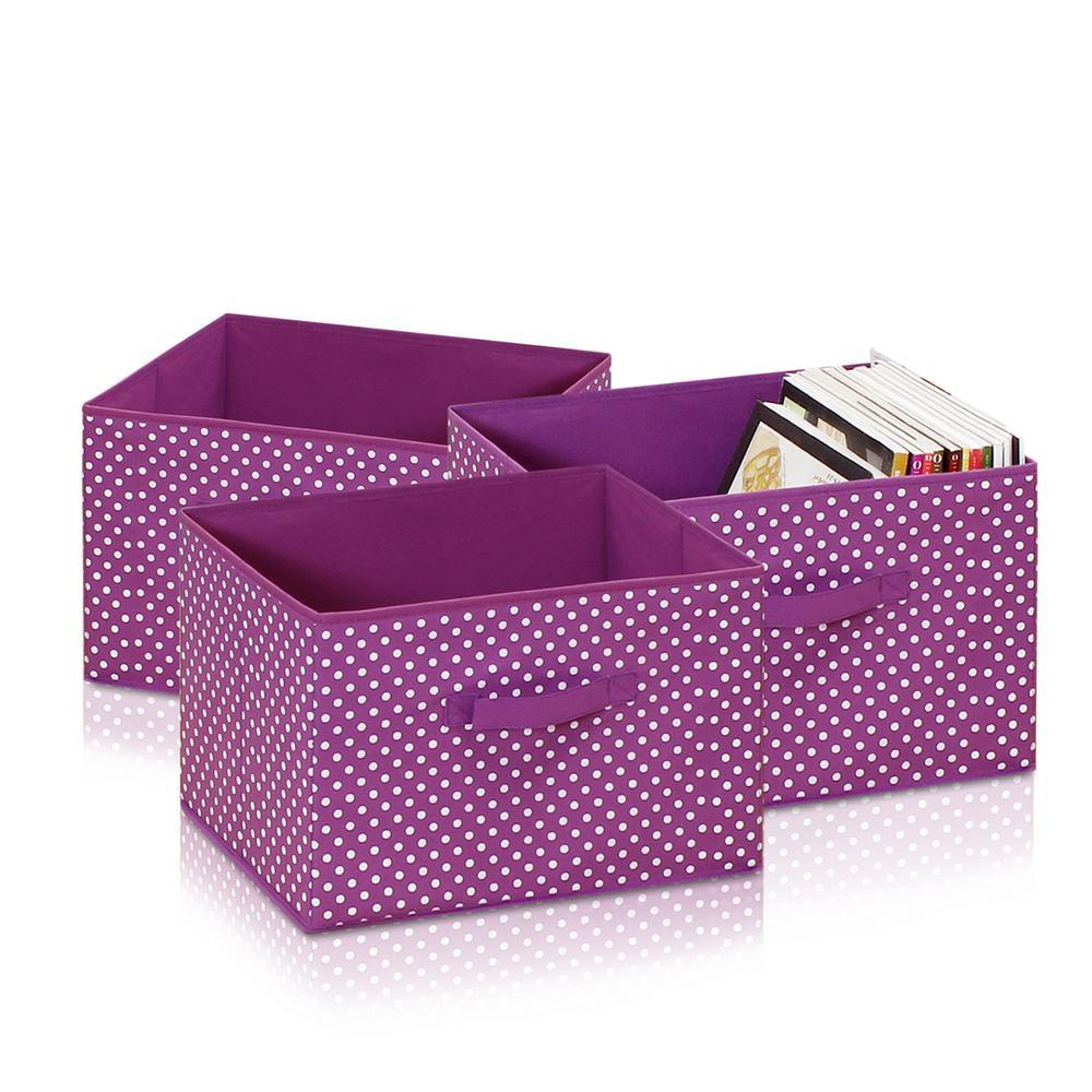 Laci Small Dot Purple Fabric Soft Storage Organizer (3-Pack)