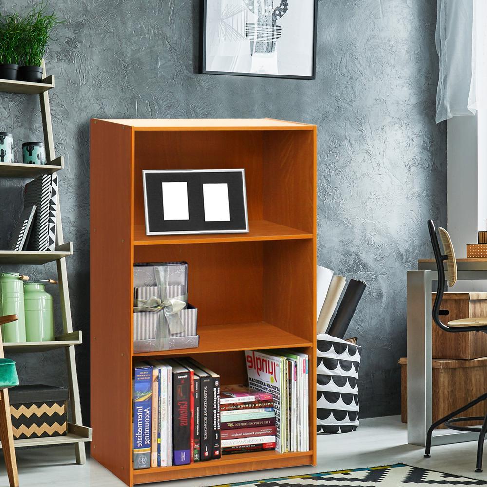 Furinno Basic 3-Self Light Cherry Open Bookcase