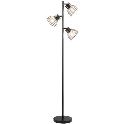 66 in. 3-Light Black Industrial Floor Lamp with Adjustable Shades