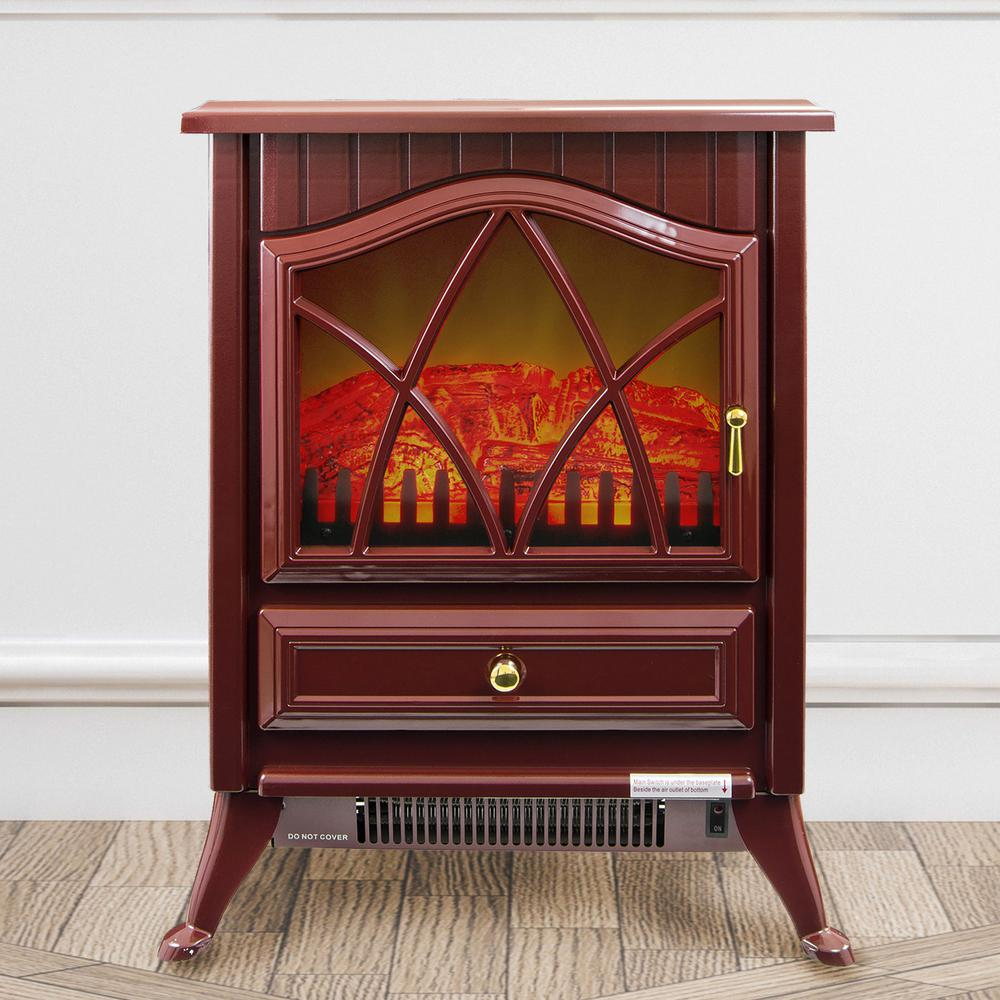16 in. Freestanding Electric Fireplace Stove Heater in Red with Vintage