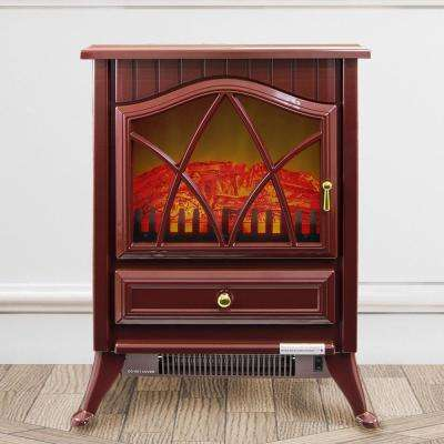 16 in. Freestanding Electric Fireplace Stove Heater in Red with Vintage Glass Door, Realistic Flame and Logs