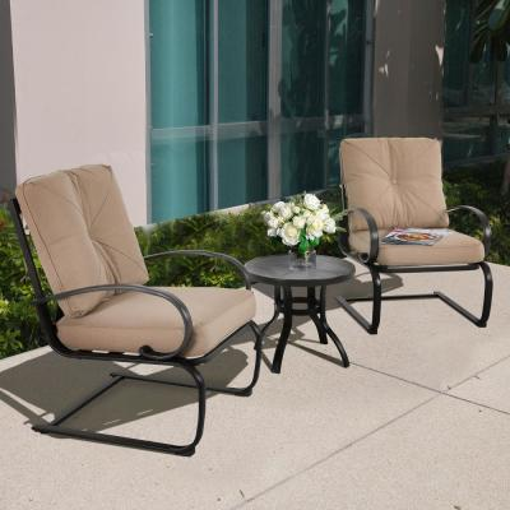 3-Piece Metal Patio Conversation Set with Beige Cushion