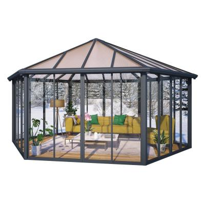 Garda 19.5 ft. x 17 ft. Aluminum Frame Hard Top Closed Garden Gazebo