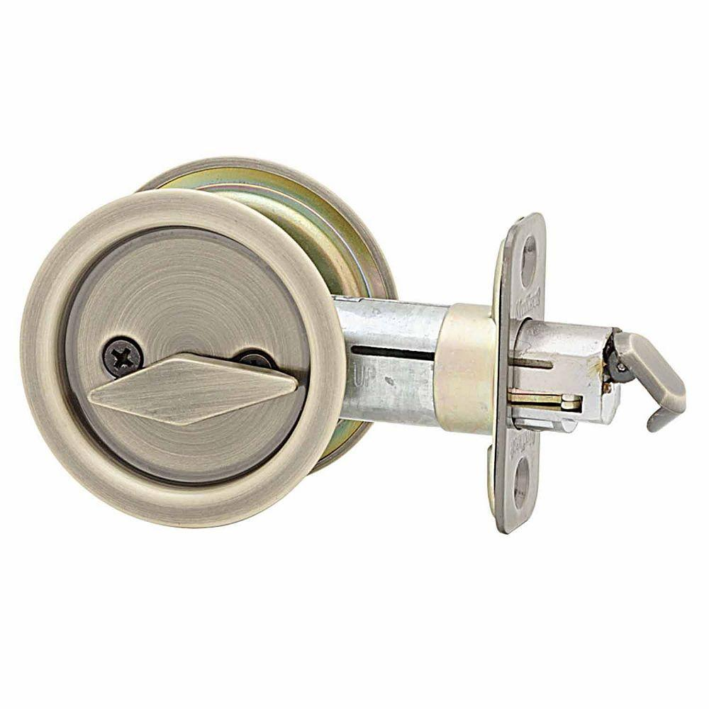Round Antique Brass Bed/Bath Pocket Door Lock