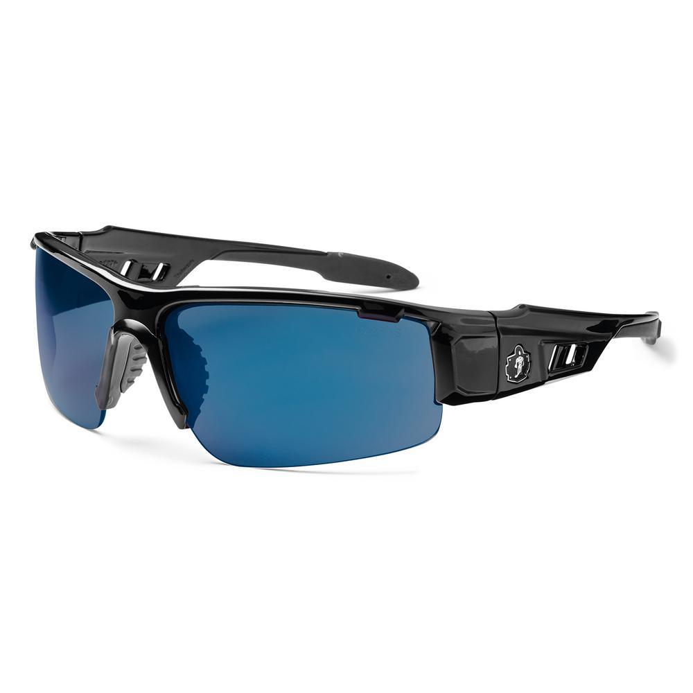 Skullerz Dagr Black Safety Glasses, Mirrored Lens - ANSI Certified