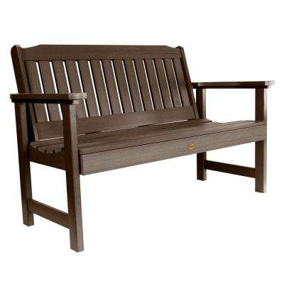 Lehigh 48 in. 2-Person Weathered Acorn Recycled Plastic Outdoor Garden Bench