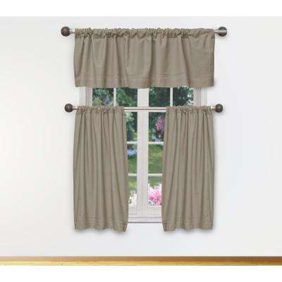 Miles Kitchen Valance in Tiers/Linen - 15 in. W x 58 in. L (3-Piece)