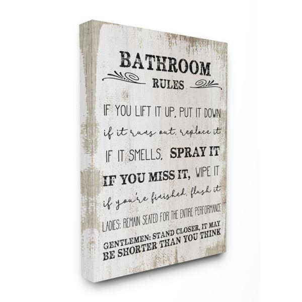 Stupell Industries 24 In X 30 In Bathroom Rules Wood By Daphne Polselli Canvas Wall Art Wrp 1350 Cn 24x30 The Home Depot