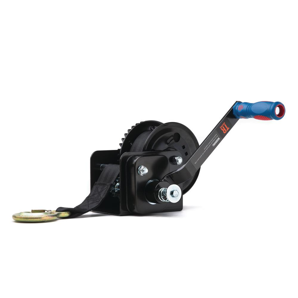 TR Industrial 1600 lb  Trailer Winch with Brake Pre-Installed 20 ft  Strap  and Hook