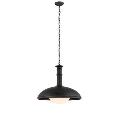 Brewery 1-Light Vintage Patina Bronze 26 in. W Pendant with Gloss Opal Glass Shade