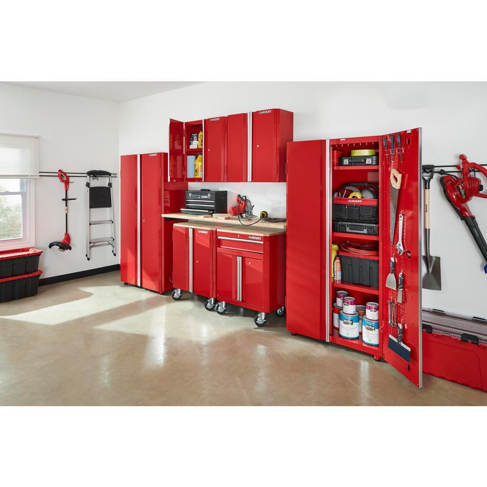 133 in. W x 98 in. H x 18 in. D Steel Garage Cabinet Set in Red (7-Piece)