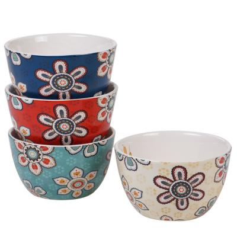 La Vida 4-Piece Country/Cottage Multi-Colored Ceramic 22 oz. Ice Cream Bowl Set (Service for 4)