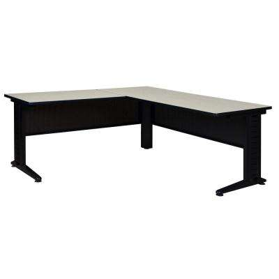 Fusion Maple 66 in. L-Desk Shell with 42 in. Return
