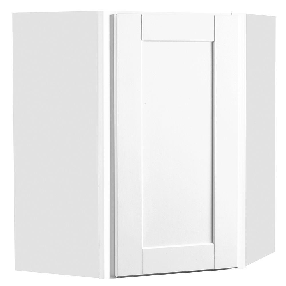 Hampton Bay Shaker Embled 24x30x12 In Diagonal Corner Wall Kitchen Cabinet Satin White