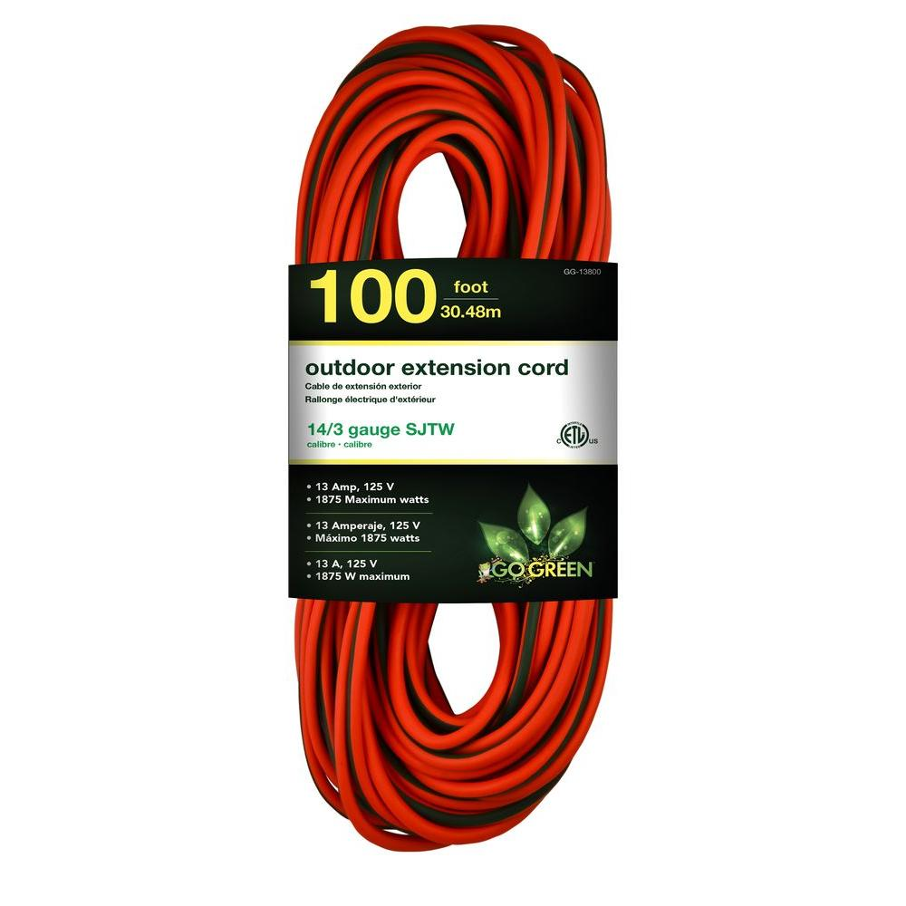 100 ft. 14/3 SJTW Outdoor Extension Cord, Orange with Lighted Green
