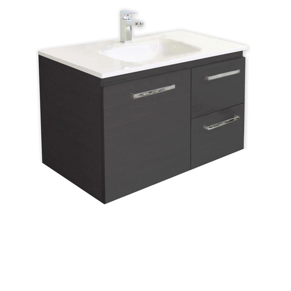 Architectural Designer Products Diana Collection Twin 750 29-1/2 in. Vanity in Espresso with Poly-Marble Vanity Top in White-DISCONTINUED
