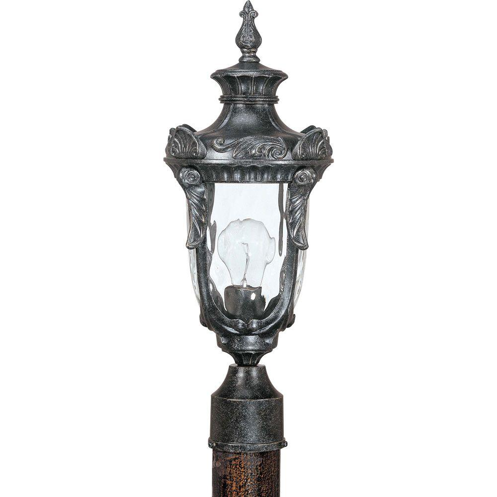 Glomar Dunmore Greystone 1 Light Mid-Size Post Lantern With Clear Water Glass-DISCONTINUED