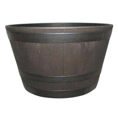 25 in. Dia Rustic Oak Resin Whiskey Barrel Planter