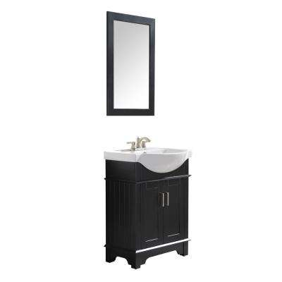 Montbrun 24 in. W x 34 in. H Bath Vanity Cabinet Only in Rich Black with White Basin and Mirror