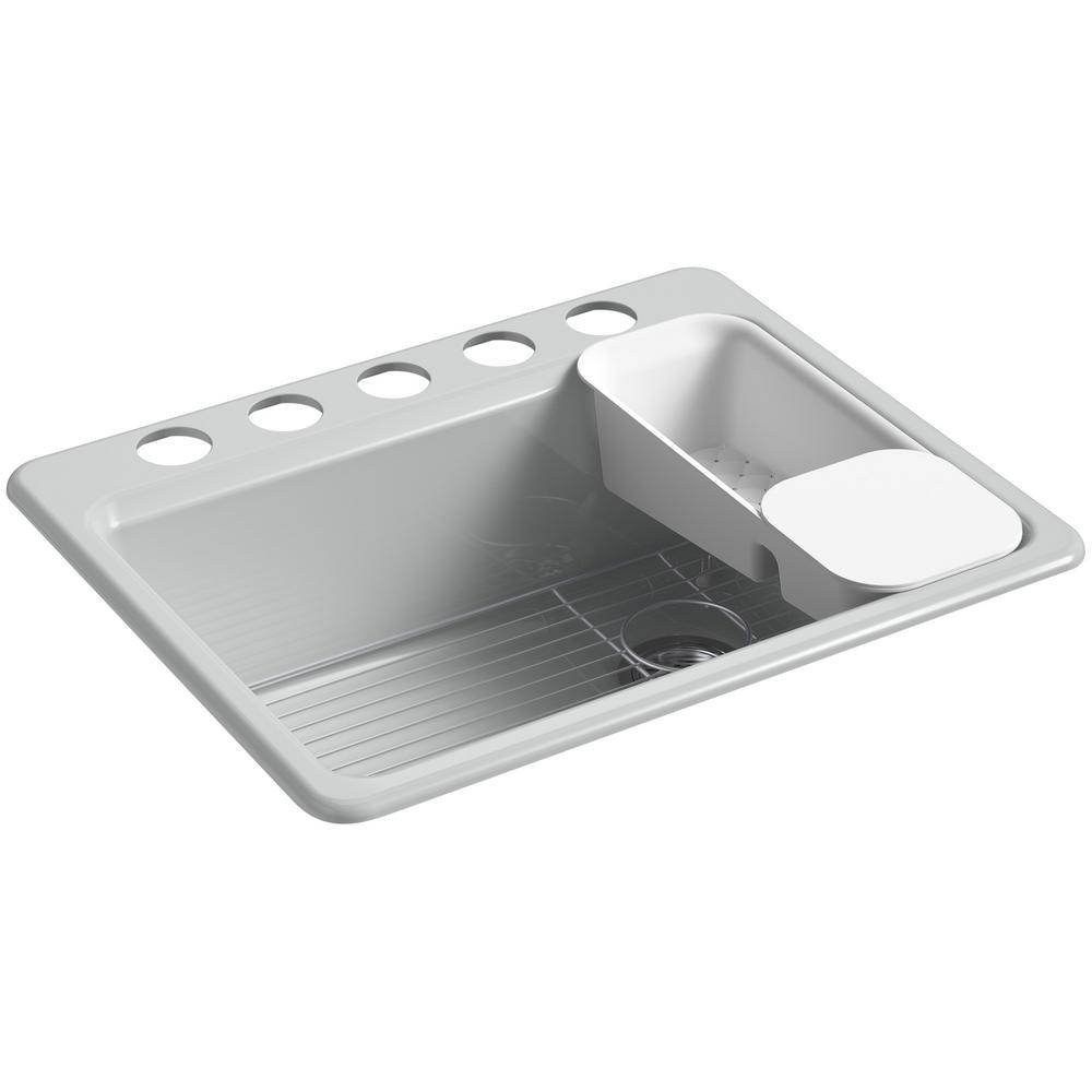 KOHLER Riverby Undermount Cast Iron 27 in. 5-Hole Single Bowl Kitchen Sink Kit in Ice Grey