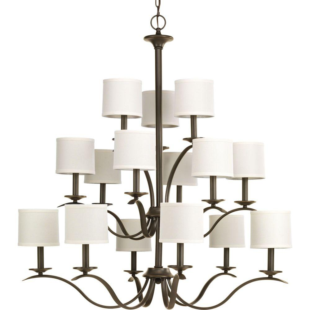Inspire Collection 15-Light Antique Bronze Chandelier with Shade with Off-White