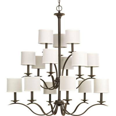 Inspire 15-Light Antique Bronze Chandelier with Off-White Linen Shade