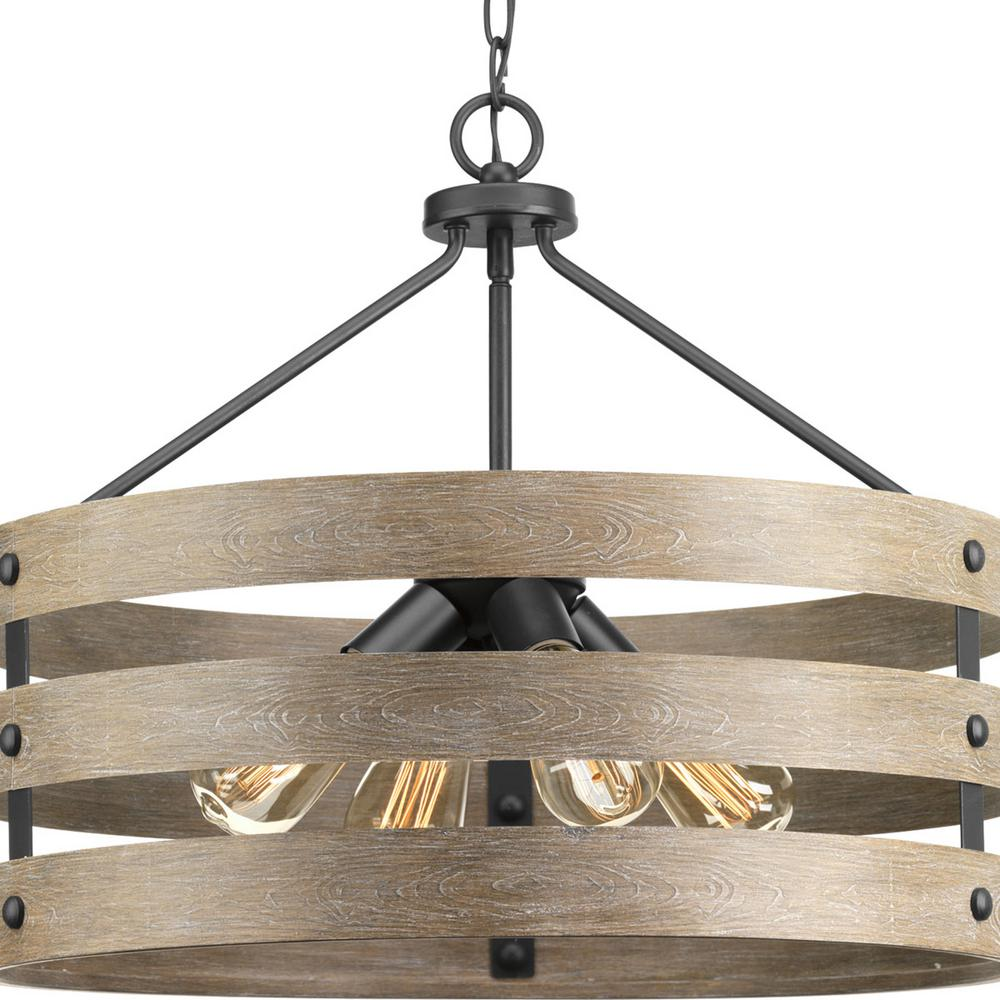 Progress Lighting Gulliver 4 Light Graphite Drum Pendant With Weathered Gray Wood Accents