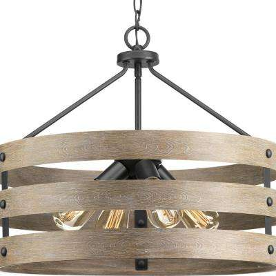 Gulliver 4-Light Graphite Drum Pendant with Weathered Gray Wood Accents