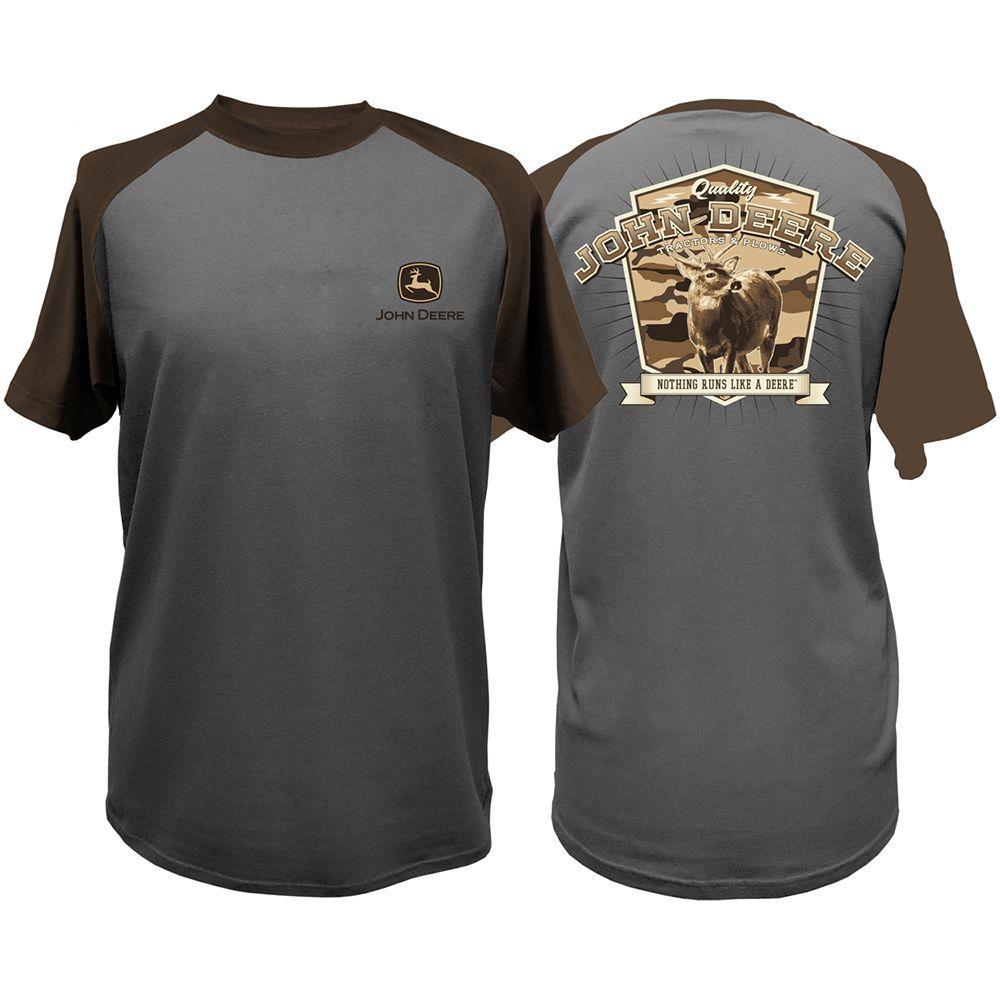 John Deere Men's Large Charcoal and Brown Nothing Runs Like A Deere Raglan T-Shirt