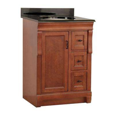 Naples 25 in. W x 22 in. D Vanity in Warm Cinnamon with Colorpoint Vanity Top in Black