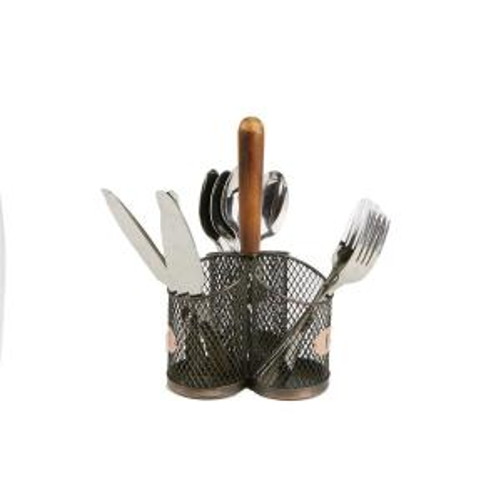 Brown Utensil Caddy Cutlery Holder Flatware with Silverware
