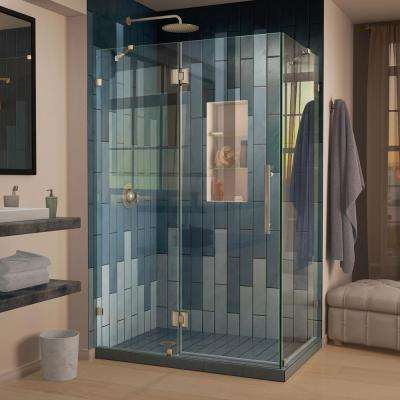 Quatra Lux 34 1/4 in. D x 58 3/8 in. W x 72 in. H Frameless Corner Hinged Shower Enclosure in Brushed Nickel