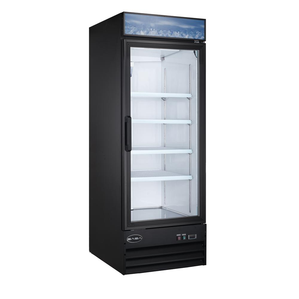 Saba 28 In W 23 Cu Ft One Glass Door Commercial Merchandiser Refrigerator Reach In In Black Sm 23r The Home Depot
