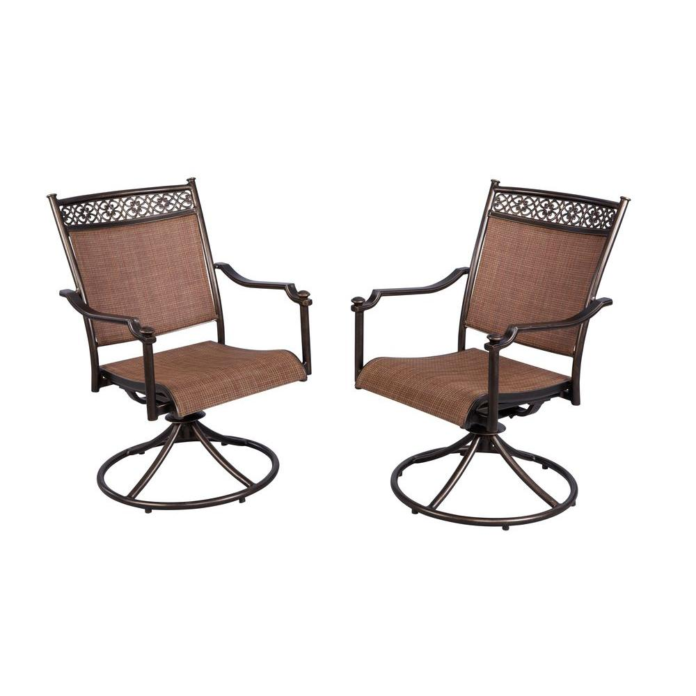 Hampton Bay Niles Park Sling Patio Swivel Rockers 2 Pack S2